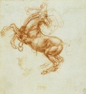 Leonardo da Vinci's sketch of a rearing horse