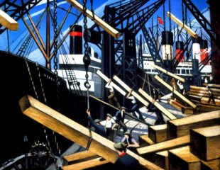 Loading Timber at Southampton Docks, by Christopher Nevinson