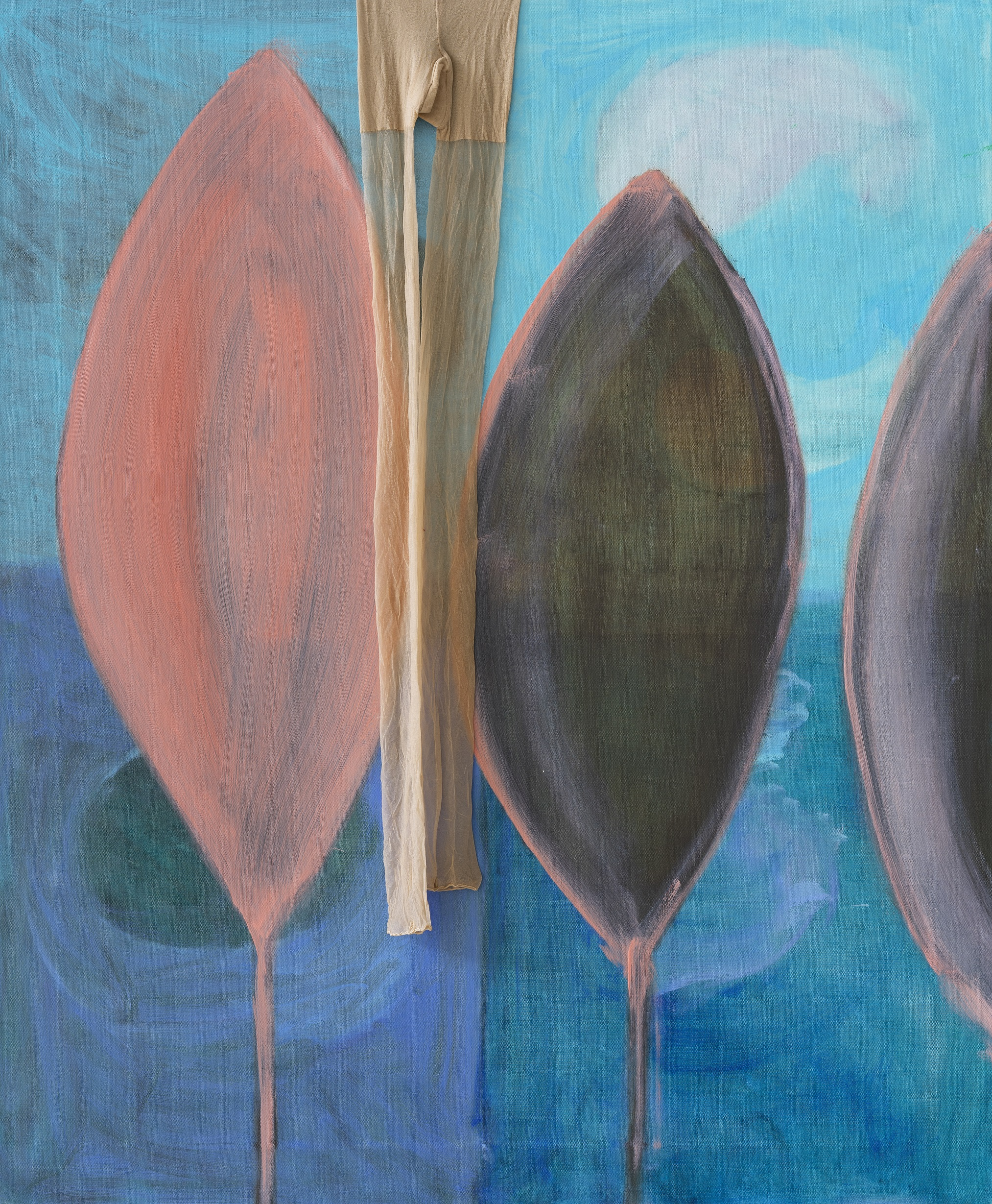 A painting showing three pink and black leaf-like forms standing vertically against a background of sea and sky. A pair of peach tights hangs over the centre of the painting.